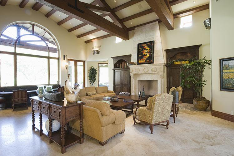 beamed living room
