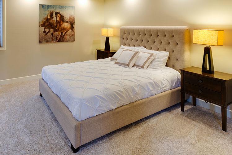beige bed white mattress-photo