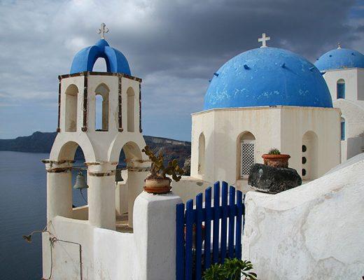 blue dome church santorini