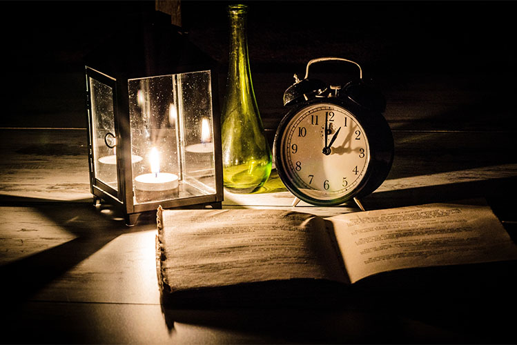 book candle clock table