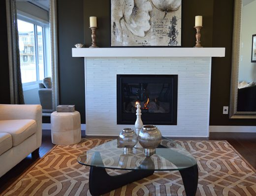 contemporary room with fireplace