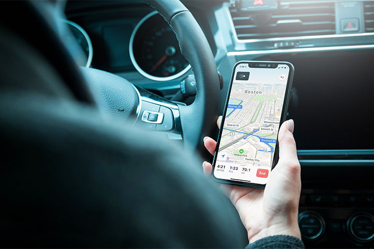 driver following navigation on smartphone
