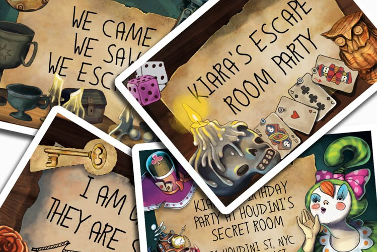 escape room cards collage