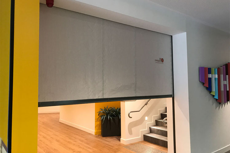 fire curtain installed in home