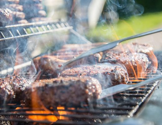 grilled meat on griddle