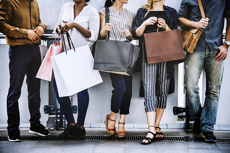 group of people fashion shopping