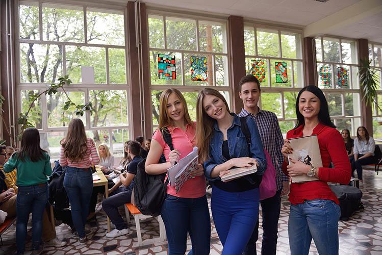 group of teens in school