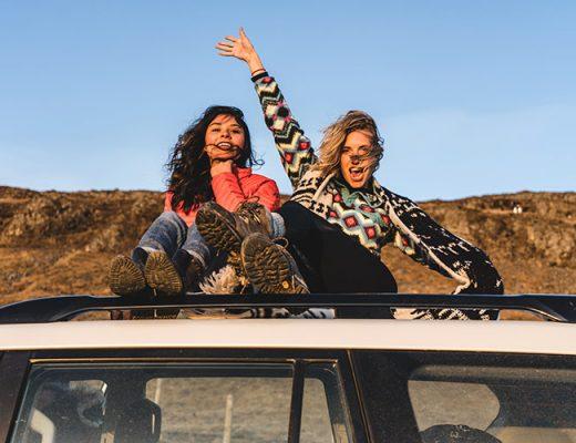 happy women road trip