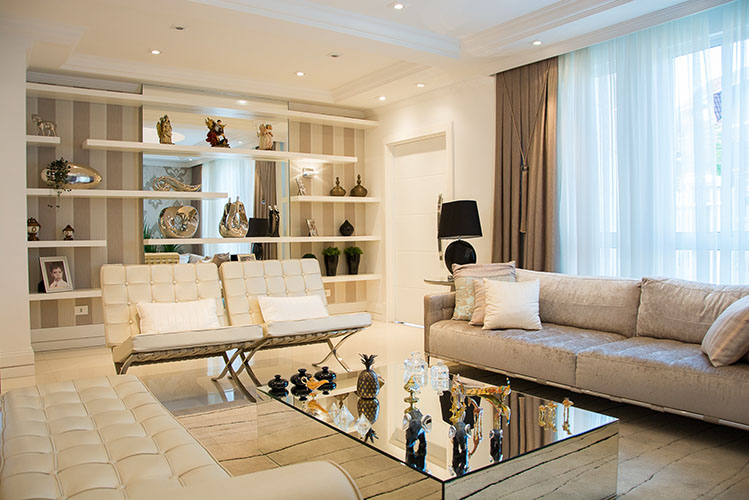 large beige theme living room