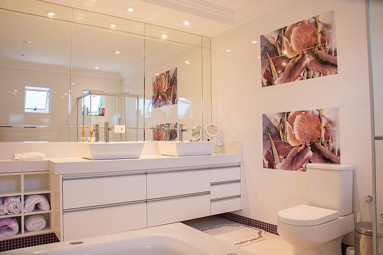 large mirror in bathroom