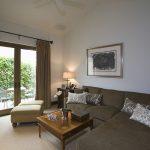 living room with brown corner sofa