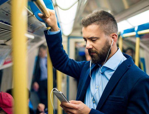 man traveling to work