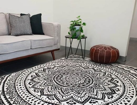 mandala black and white rug