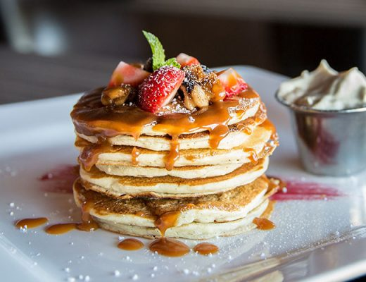 pancake with sliced strawberry