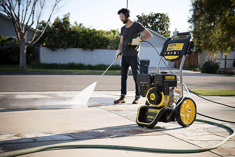pressure washer in action