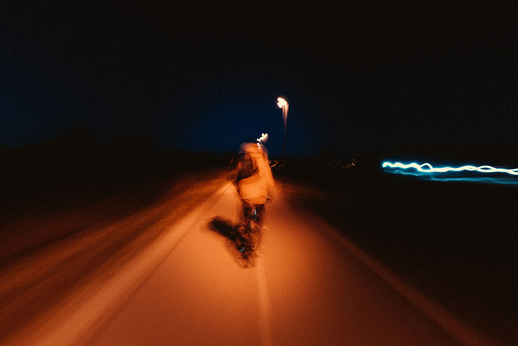 riding the bike during the night