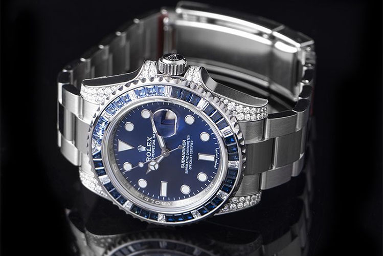 Submariner 18K White Gold Diamond Bezel Automatic Blue Dial Unisex Watch