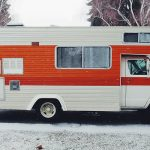 rv parked outside winter