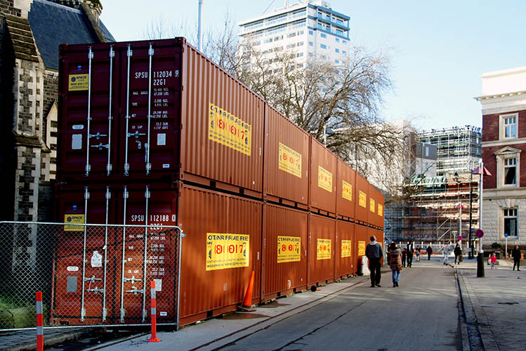 shipping containers on street
