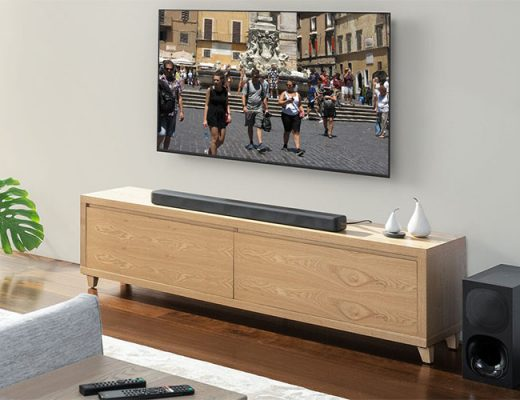 soundbar and tv set