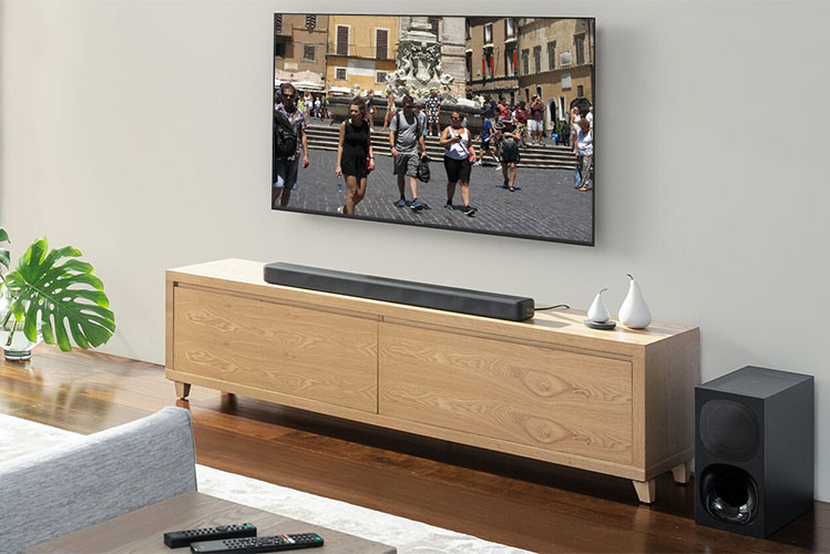 soundbar and tv set