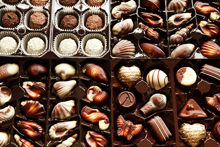 various assortments of chocolate