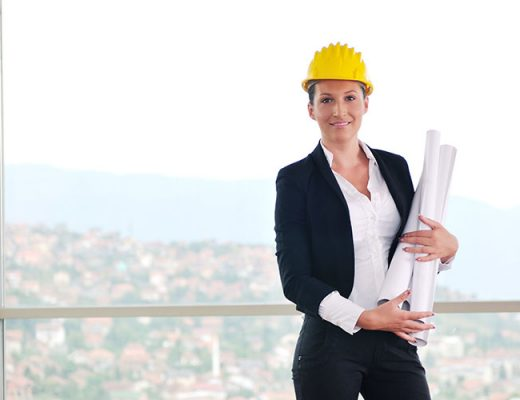 woman wearing yellow construction helmet