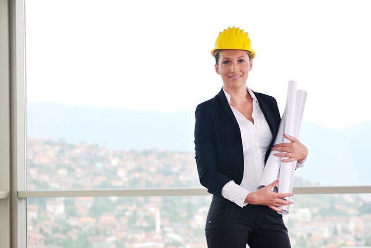 woman wearing yellow construction helmet