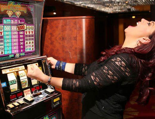 woman winning slots