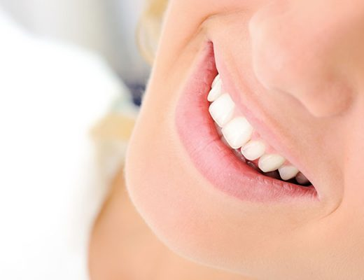 woman with white healthy teeth