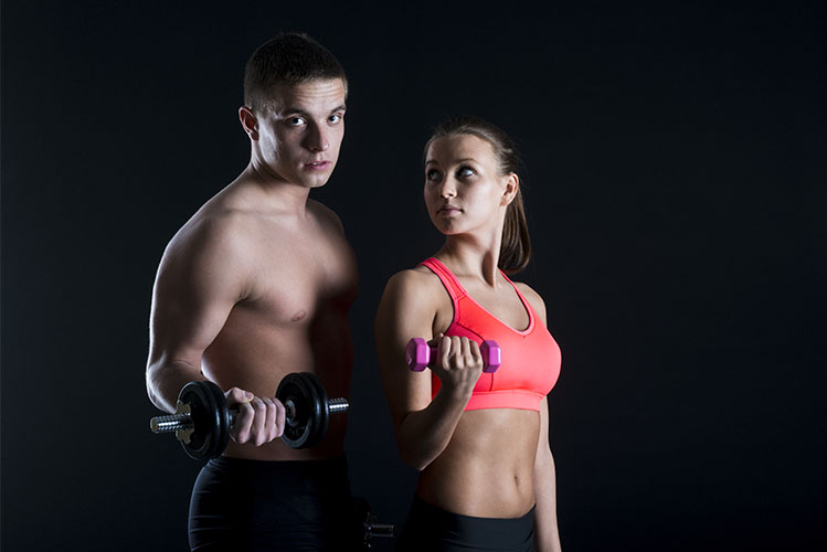 young fitness models posing