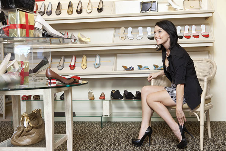 young woman in footwear store